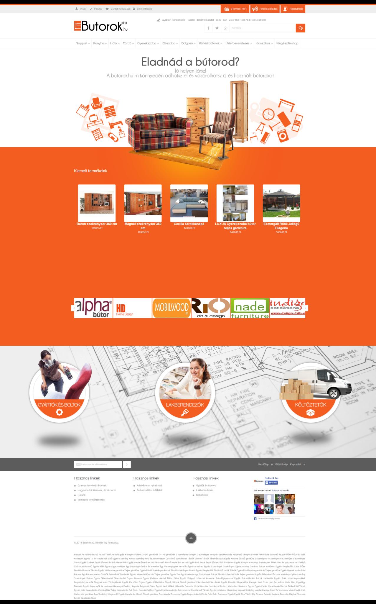 butorok.hu egyedi portál fejlesztés